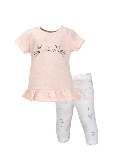 Mininio Pembe Bunny Volanlı T-Shirt ve Tayt Takım (3-24ay) Pembe Bunny Volanlı T-Shirt ve Tayt Takım (3-24ay) Pembe